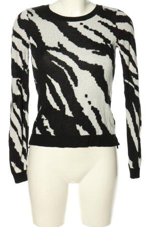 H&M Strickpullover schwarz-weiß Allover-Druck Casual-Look