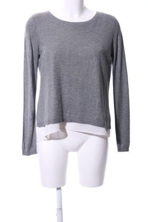 H&M Strickpullover hellgrau-weiß meliert Casual-Look