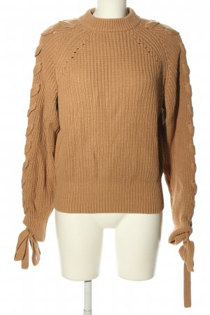 H&M Strickpullover braun Zopfmuster Casual-Look