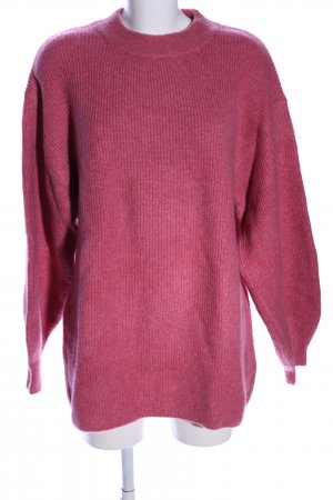 H&M Strickpullover pink Zopfmuster Business-Look