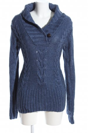 H&M Strickpullover blau Zopfmuster Casual-Look