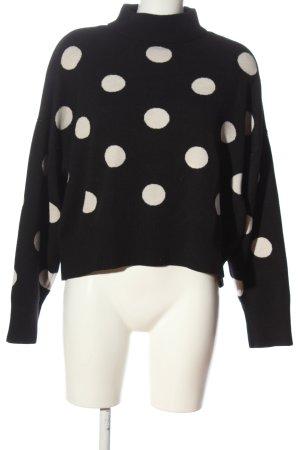 H&M Strickpullover schwarz-weiß Punktemuster Casual-Look