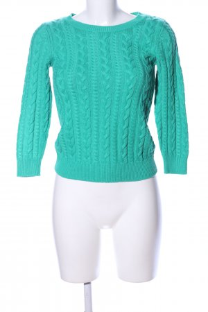H&M Strickpullover türkis Zopfmuster Casual-Look
