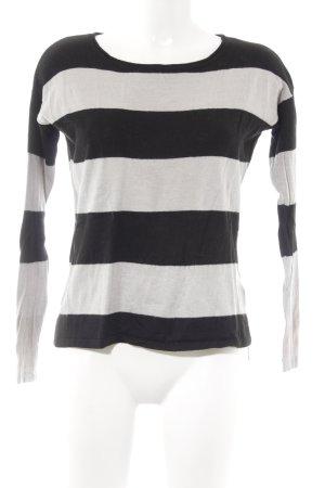 H&M Strickpullover schwarz-hellgrau Streifenmuster Casual-Look