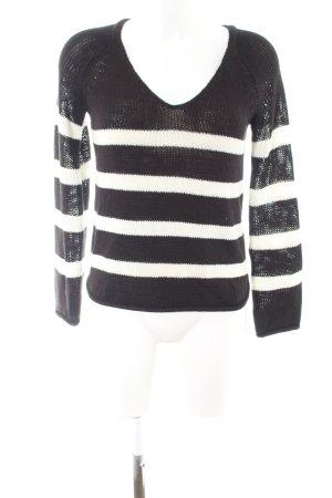 H&M Strickpullover schwarz-weiß Streifenmuster Casual-Look