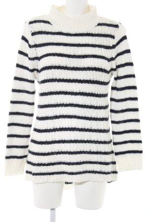 H&M Strickpullover weiß-schwarz Streifenmuster Casual-Look