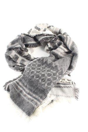 H&M Strickschal hellgrau-weiß grafisches Muster Casual-Look