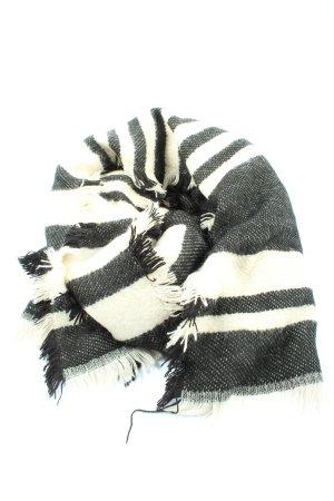 H&M Écharpe en tricot noir-blanc cassé motif rayé style décontracté