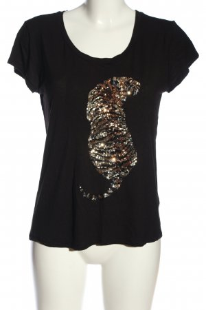H&M Knitted Jumper black-gold-colored themed print casual look