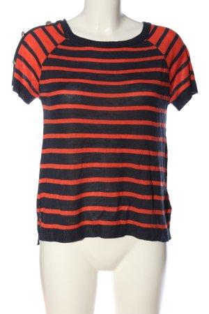 H&M Strickshirt schwarz-hellorange Streifenmuster Casual-Look