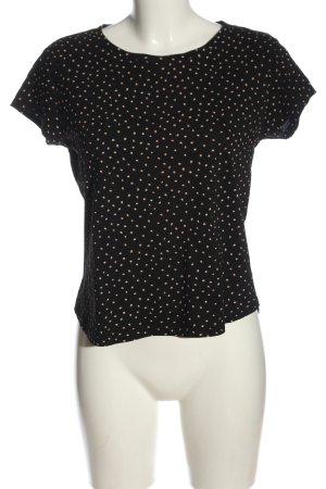 H&M Strickshirt schwarz-creme Allover-Druck Casual-Look