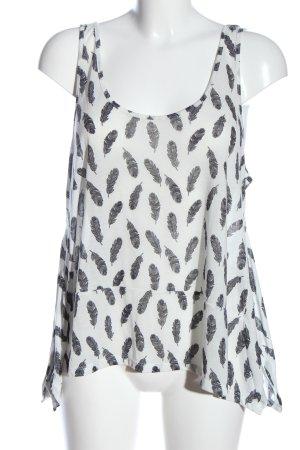 H&M Stricktop weiß-schwarz Allover-Druck Casual-Look