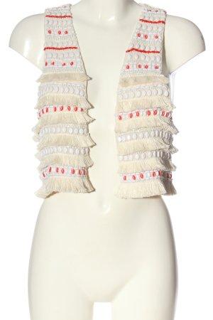H&M Strickweste wollweiß-rot Elegant