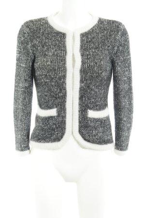 H&M Gilet tricoté gris foncé-blanc Motif de tissage style décontracté