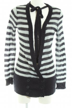H&M Knitted Wrap Cardigan black-white striped pattern casual look