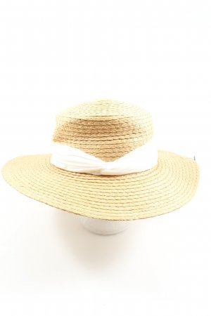 H&M Kapelusz słomkowy kremowy-biały Na całej powierzchni W stylu casual