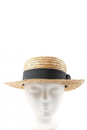 H&M Straw Hat black-brown cable stitch casual look