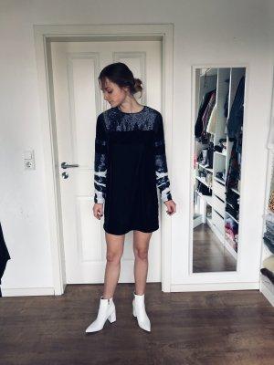 H&M Studio AW 2014 Kleid Schwarz Samt Pailletten Blau Weiß 34 XS