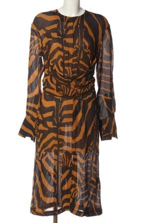 H&M Studio Langarmkleid hellorange-braun abstraktes Muster Casual-Look
