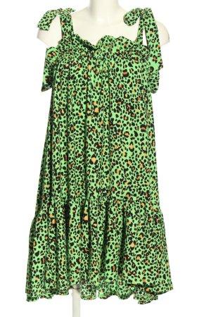 H&M Trägerkleid grün-schwarz Allover-Druck Elegant