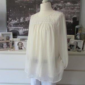 H&M * Süße Chiffon Tunika Bluse Hängerchen * creme-offwhite Spitze * 44
