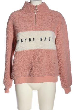 H&M Sweatjack roze gedrukte letters casual uitstraling