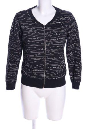 H&M Sweatjacke schwarz-weiß Schriftzug gedruckt Casual-Look