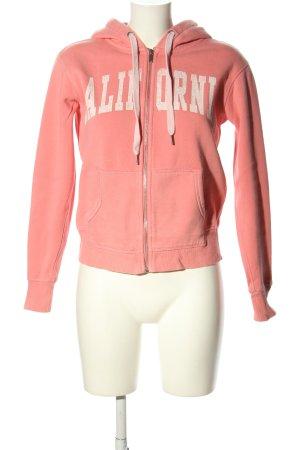 H&M Sweatjacke pink-weiß Schriftzug gedruckt Casual-Look