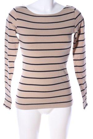 H&M Sweatshirt wollweiß-schwarz Streifenmuster Casual-Look