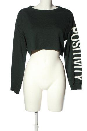 H&M Sweatshirt khaki-weiß Schriftzug gedruckt Casual-Look