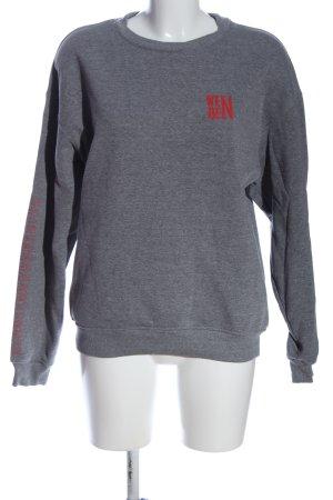 H&M Sweatshirt hellgrau-rot meliert Casual-Look