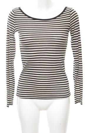 H&M Sweatshirt schwarz-wollweiß Streifenmuster schlichter Stil