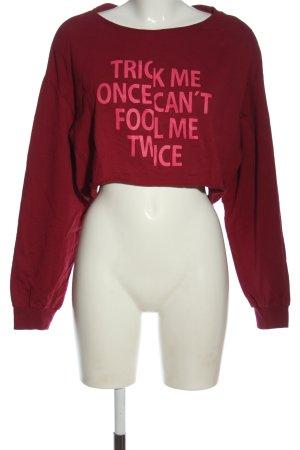H&M Sweatshirt rot-pink Schriftzug gedruckt Casual-Look