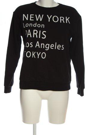 H&M Sweatshirt schwarz Schriftzug gedruckt Casual-Look