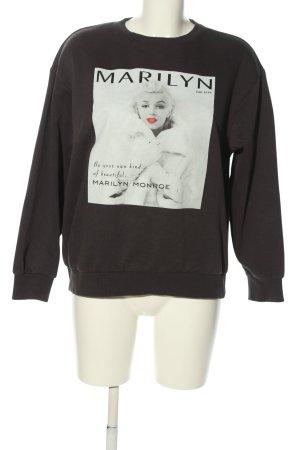H&M Sweatshirt schwarz-wollweiß Motivdruck Casual-Look