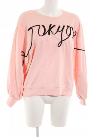 H&M Sweatshirt pink Schriftzug gedruckt Casual-Look