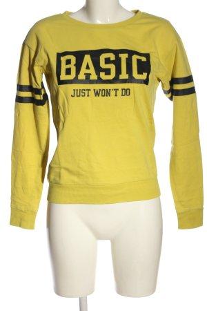 H&M Sweatshirt blassgelb-schwarz Schriftzug gedruckt Casual-Look