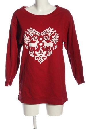 H&M Sweatshirt rot-weiß Motivdruck Casual-Look