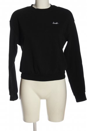 H&M Sweatshirt schwarz Schriftzug gestickt Casual-Look