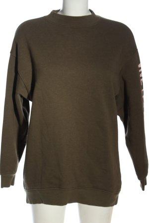 H&M Sweatshirt khaki Schriftzug gedruckt Casual-Look