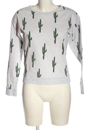 H&M Sweatshirt hellgrau-grün Allover-Druck Casual-Look