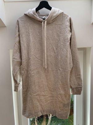 H&M Sweatshirtkleid Hoodiekleid langer Hoodie beige meliert