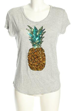 H&M T-Shirt hellgrau-goldfarben meliert Casual-Look