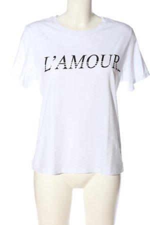 H&M T-Shirt weiß Schriftzug gedruckt Casual-Look