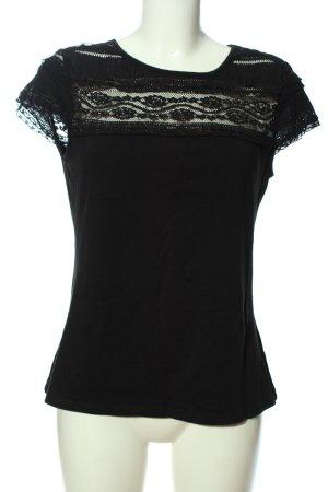 H&M T-Shirt schwarz Blumenmuster Casual-Look