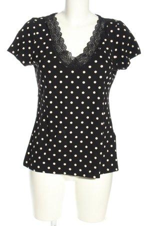 H&M T-shirt czarny-biały Wzór w kropki W stylu casual