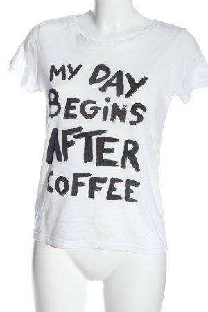 H&M T-Shirt weiß-schwarz Schriftzug gedruckt Casual-Look