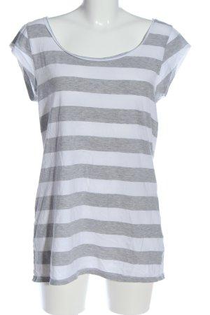 H&M T-shirt jasnoszary-biały Melanżowy W stylu casual