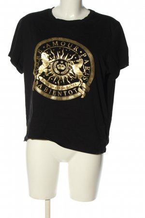 H&M T-Shirt schwarz-goldfarben Schriftzug gedruckt Casual-Look