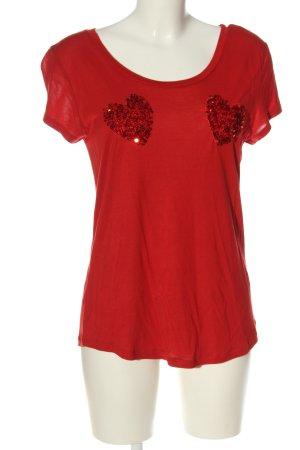 H&M T-Shirt rot Motivdruck Elegant